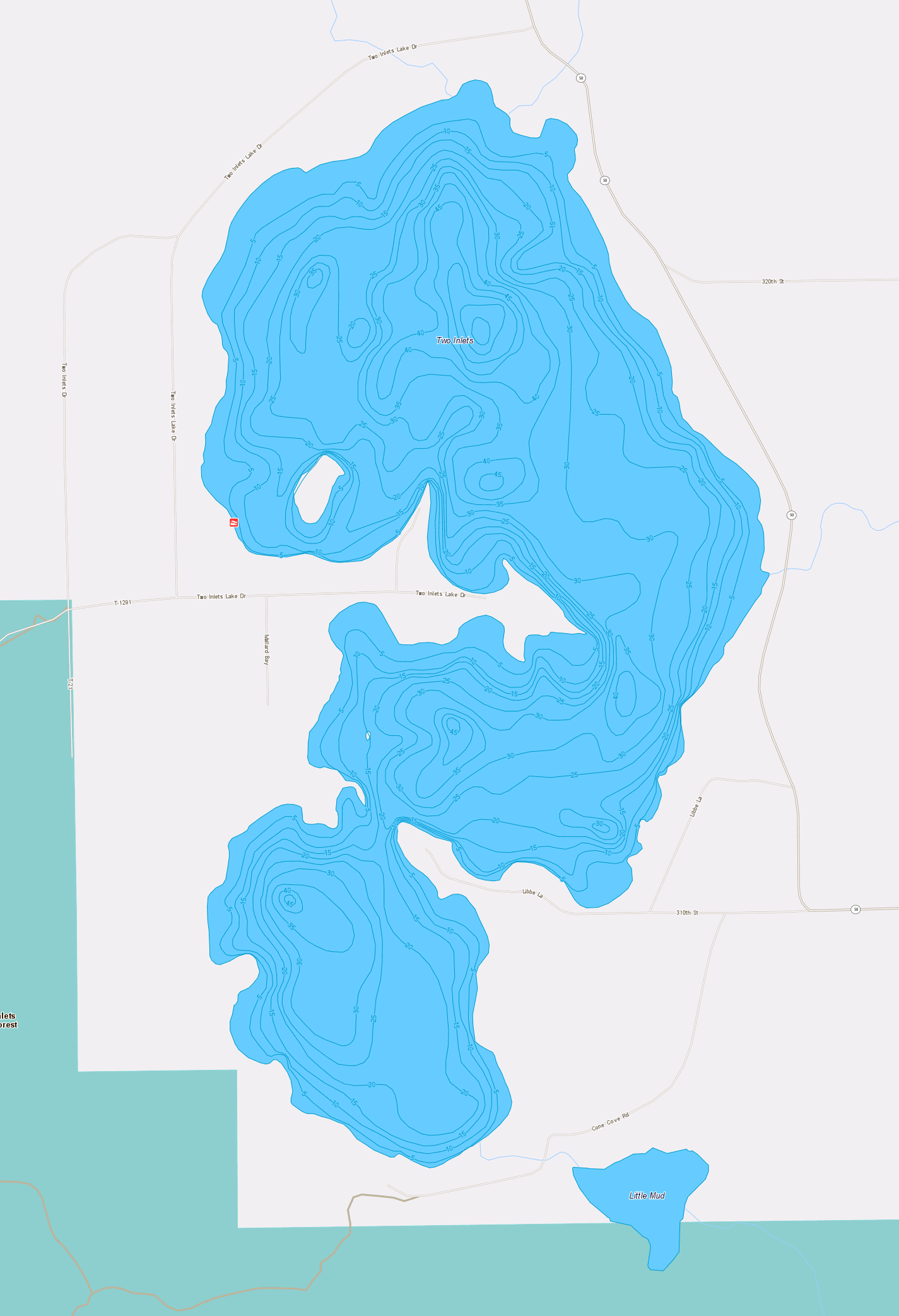 little green lake map Lake Map Two Inlets Resort Park Rapids Mn little green lake map